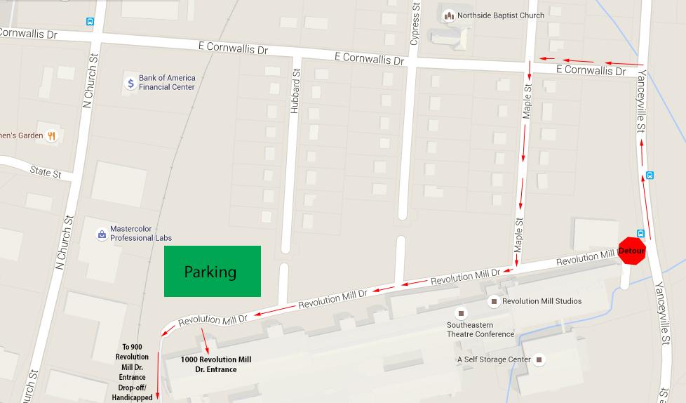 Revolution Mill Detour Map