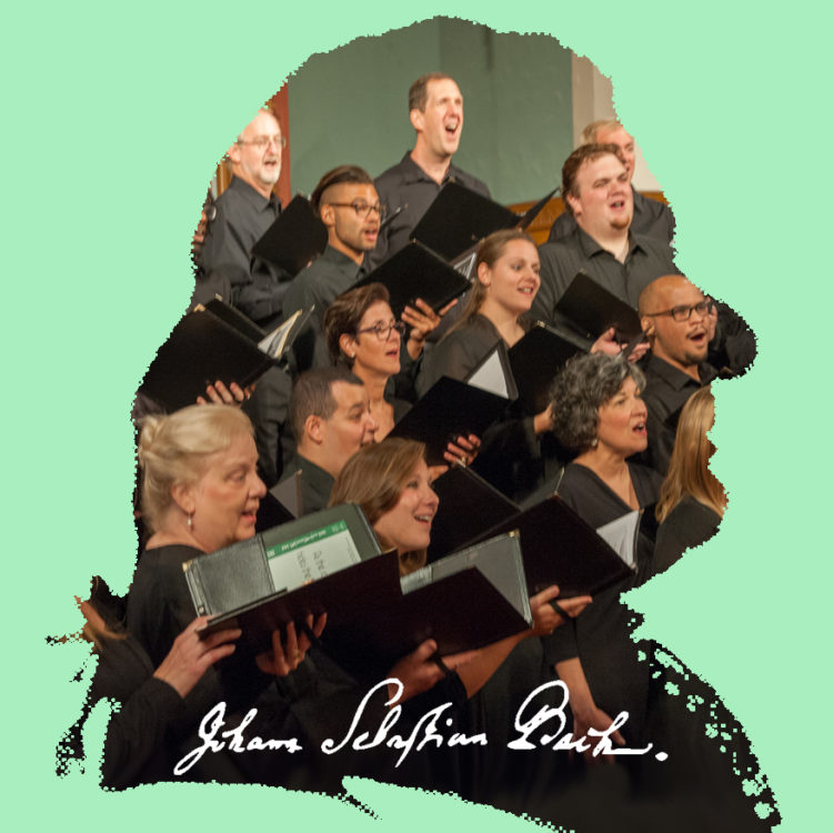 Sillouhett of J.S. Bach with Bel Canto inside