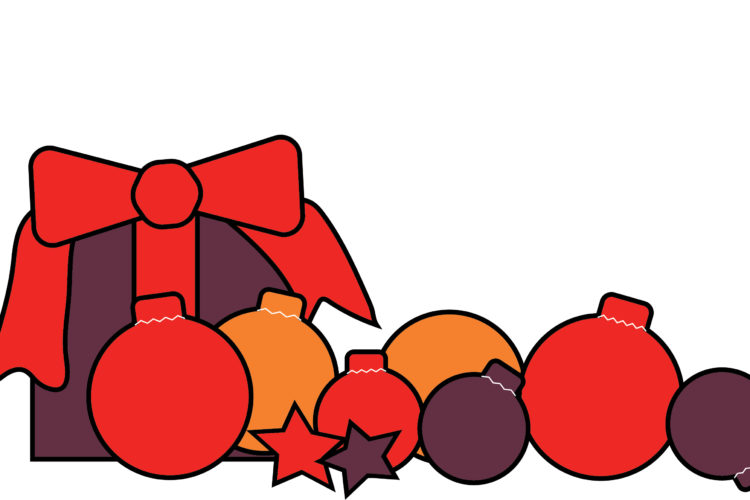 Package and baubles illustration